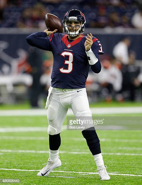 Tom Savage of the Houston Texans warms up before playing the Cincinnati Bengals at NRG Stadium on December 24 2016 in Houston Texas