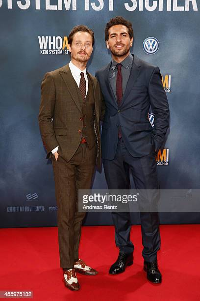 Tom Schilling and Elyas M'Barek attend the premiere of the film 'Who am I' at Zoo Palast on September 23, 2014 in Berlin, Germany.