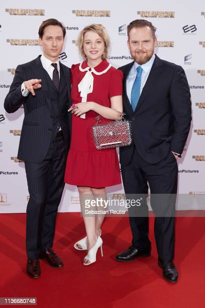 "Tom Schilling, Jella Haase and Axel Stein attend the Family & Friends screening of ""Goldfische"" at UCI LUXE on March 18, 2019 in Berlin, Germany."