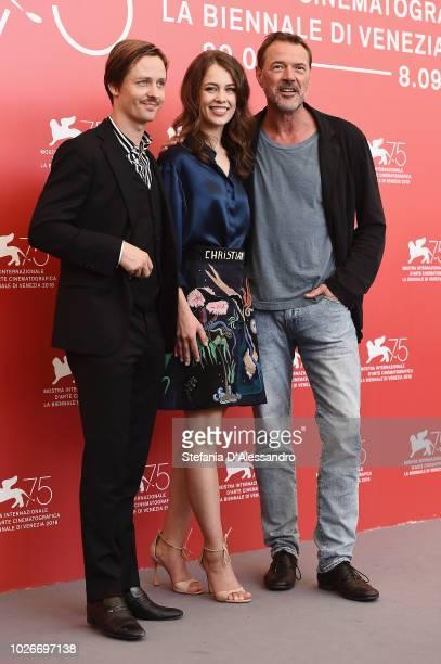Tom Schilling Paula Beer and Sebastian Koch attend 'Werk Ohne Autor ' photocall during the 75th Venice Film Festival at Sala Casino on September 4...