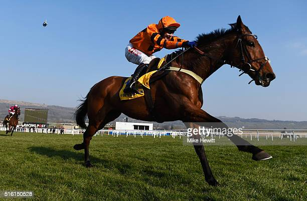 Tom Scudamore rides Thistlecrack to victory in the Ryanair World Hurdle on day three St Patrick's Thursday of the Cheltenham Festival at Cheltenham...