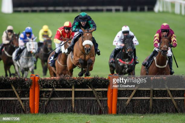 Tom Scudamore riding Dalaman clear the last to win The Polar Bear Windows Handicap Hurdle Race at Chepstow racecourse on October 31, 2017 in...