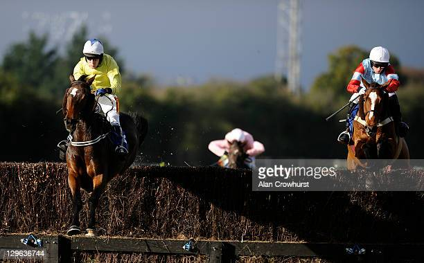 Tom Scudamore riding Double Chocolate win The Hildon Handicap Steeple Chase at Fontwell racecourse on October 19 2011 in Fontwell England