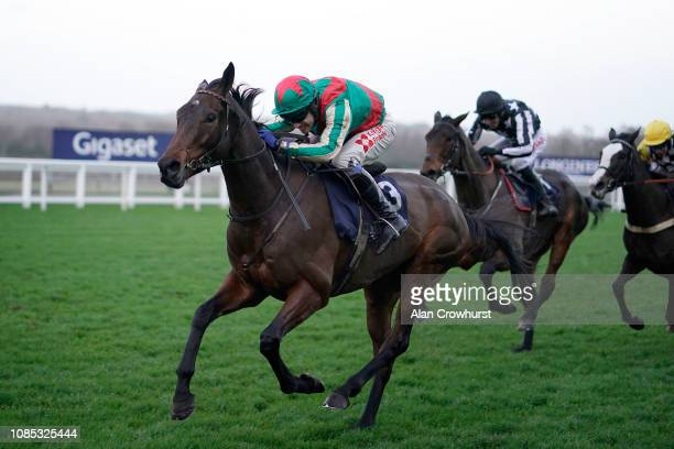 Tom Scudamore riding Eden Du Houx win The St Andrews Holdings Championship Standard Open NH Flat Race at Ascot Racecourse on December 21 2018 in...