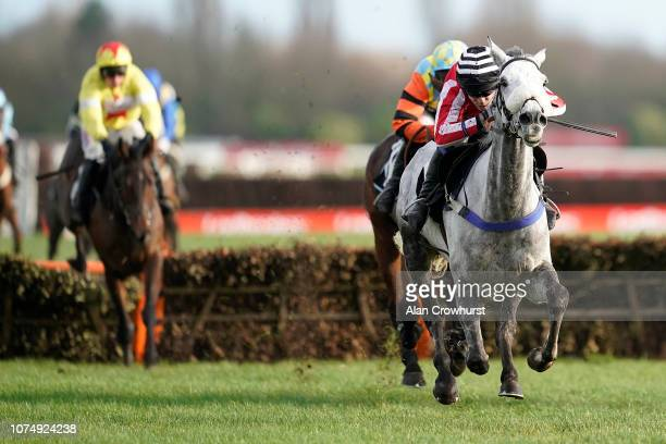 Tom Scudamore riding Kateson clear the last to win The Ladbrokes Novices' Hurdle at Newbury Racecourse on November 30 2018 in Newbury England