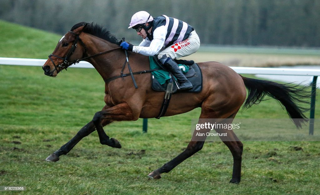 Tom Scudamore riding Know The Score win The Visit Our Shop 'Star Sports Mayfair' Standard Open NH Flat Race at Towcester racecourse on February 14, 2018 in Towcester, England.