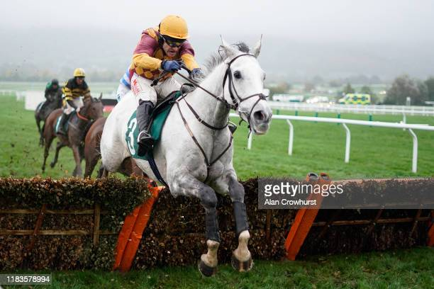 Tom Scudamore riding Ramses De Teillee clear the last to win The Randox Health Novices' Hurdle at Cheltenham Racecourse on October 26, 2019 in...