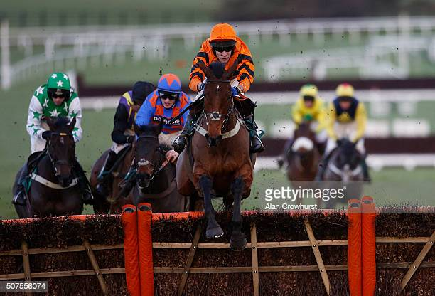 Tom Scudamore riding Thistlecrack clear the last to win The galliardhomescom Cleeve Hurdle Race at Cheltenham racecourse on January 30 2016 in...