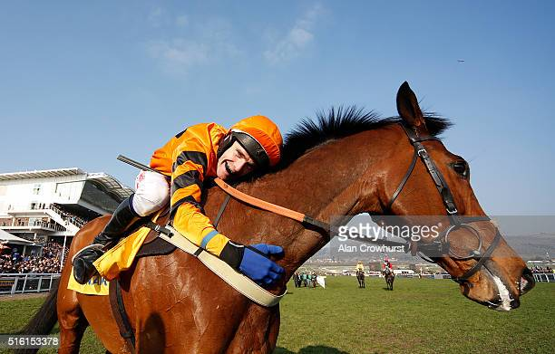Tom Scudamore riding Thistlecrack win The Ryanair World Hurdle Race during Cheltenham Festival St Patrick's Thursday at Cheltenham racecourse on...