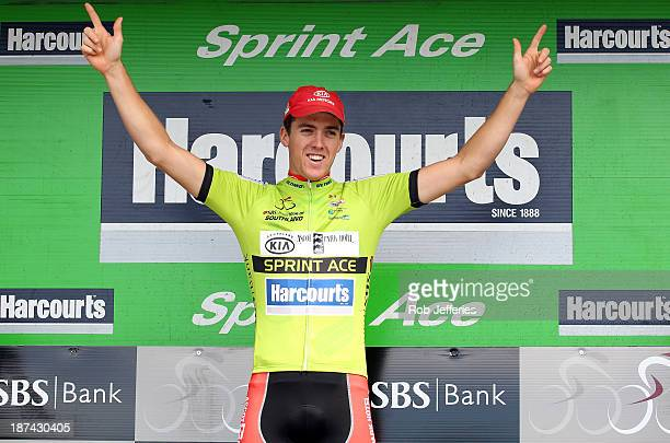 Tom Scully of team Ascot Park Hotel Kia Southland celebrates winning the Sprint Ace Title on the 2013 Tour of Southland on November 9 2013 in...