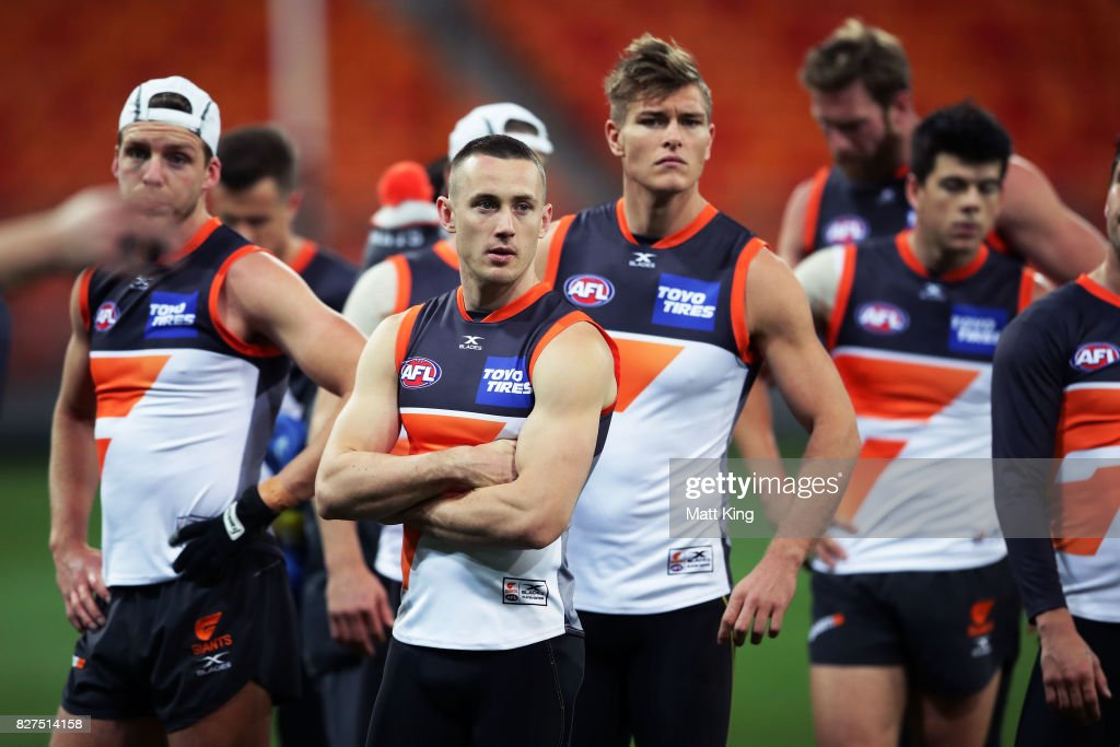 Tom Scully of the Giants looks on during a Greater Western Sydney Giants AFL training session at Spotless Stadium on August 8, 2017 in Sydney, Australia.