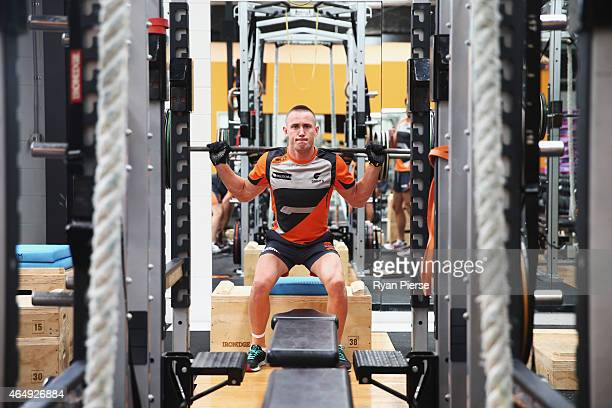 Tom Scully of the Giants trains during a Greater Western Sydney Giants AFL training session at the Giants Training Centre on March 2 2015 in Sydney...