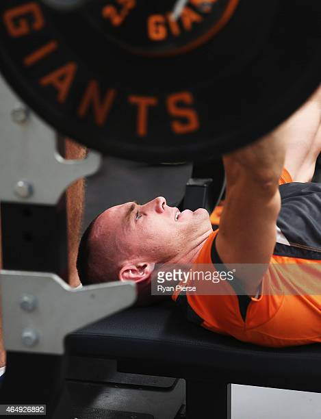 Tom Scully of the Giants trains during a Greater Western Sydney Giants AFL training session on March 2 2015 in Sydney Australia