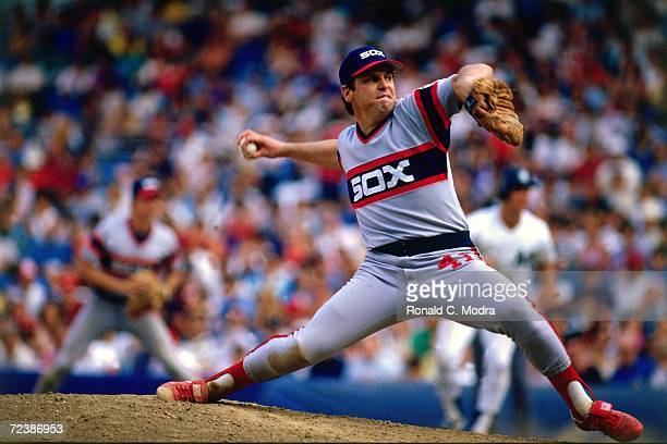 Tom Seaver of the Chicago White Sox pitching his 300th win against the New York Yankees in Yankee Stadium on August 4 l984 in the Bronx New York