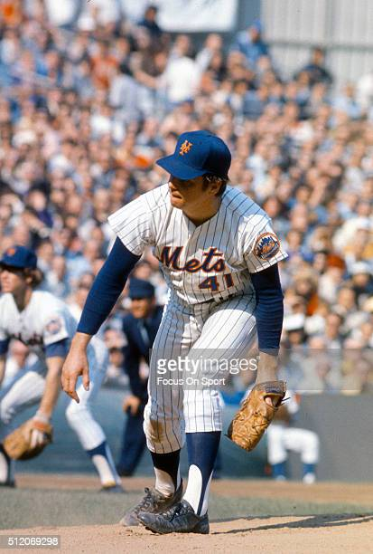 Tom Seaver of the New York Mets pitches against the Baltimore Orioles during The 1969 World Series GM 4 October 15 1969 at Shea Stadium In the Queens...