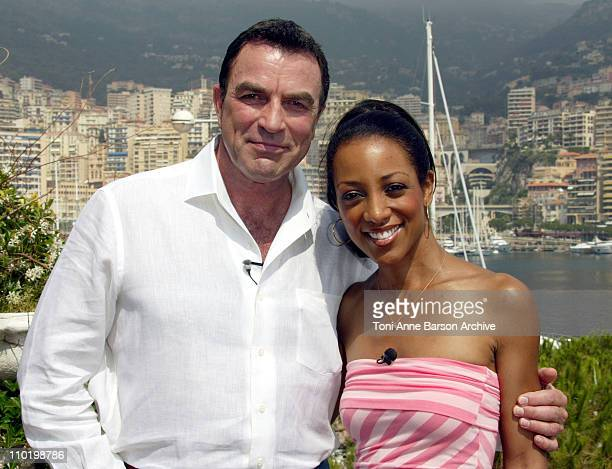 Tom Selleck and Shaun Robinson during 2004 MonteCarlo TV Festival Tom Selleck Interview with Access Hollywood and Photo Session at MonteCarlo Yacht...