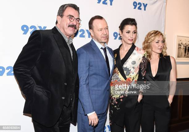 Tom Selleck Donnie Wahlberg Bridget Moynahan and Amy Carlson attend the Blue Bloods 150th episode celebration at 92Y on March 27 2017 in New York City