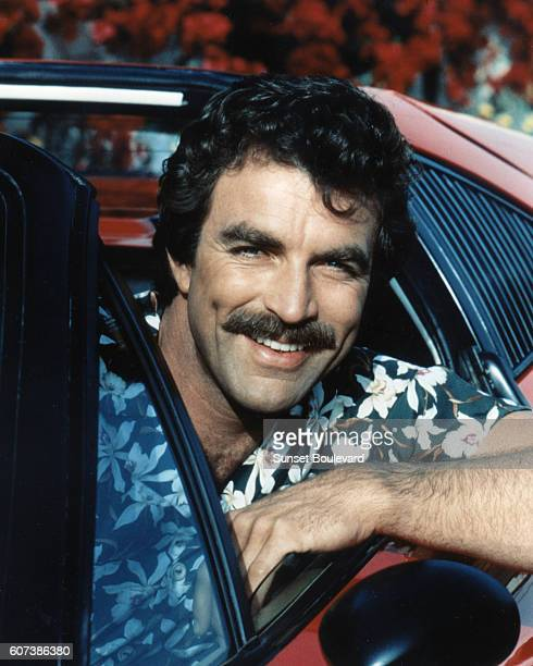 Tom Selleck on the set of the TV series 'Magnum'