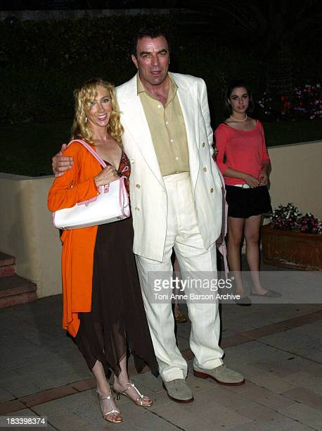 Tom Selleck with wife and daughter during 2004 MonteCarlo TV Festival Beach Party at MonteCarlo Beach Hotel in Monte Carlo Monaco