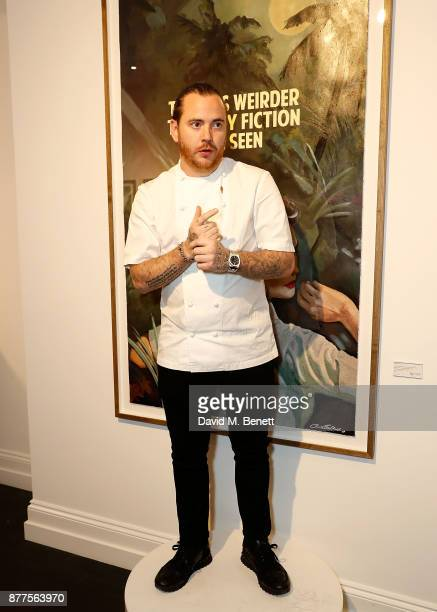 Tom Sellers speaks at the intimate VIP private view for The Connor Brothers with catering by Michelin Starred chef Tom Sellers at Maddox Gallery on...