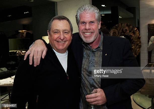 Tom Sherak actor Ron Perlman and designer Opal Stone attend the Opal Stone Luxury Handbags And Fine Jewelry Launch at Gray Gallery on December 8 2011...