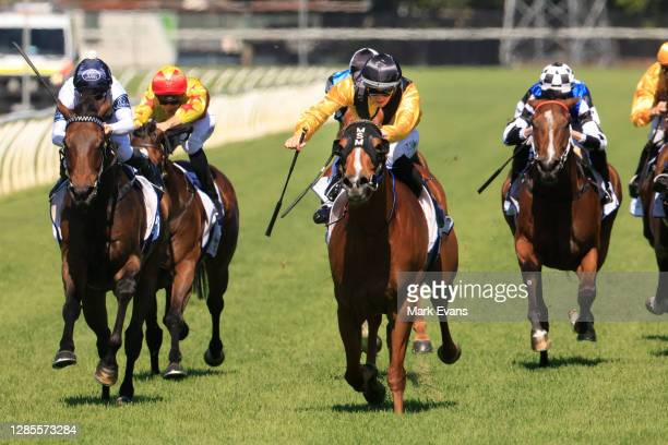 Tom Sherry on Super wins race 5 The HGungerford Hill Benchmark 78 Handicap during Racing at Newcastle Racecourse on November 14, 2020 in Newcastle,...