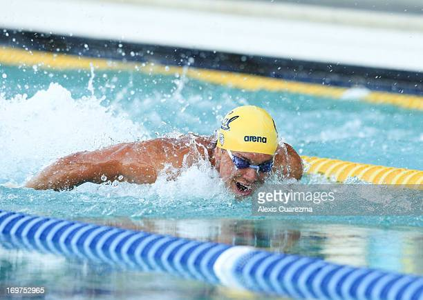 Tom Shields competes in the men's 100 meter butterfly on Day Two of the Santa Clara International Grand Prix at the George F. Haines International...