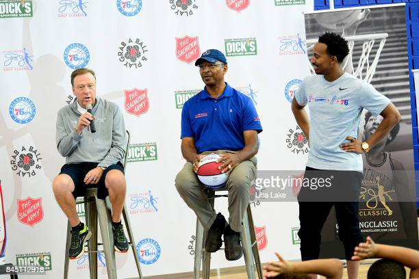 Tom Shirley Charles Turner and Christian Crosby speak to children during the Erving Youth Basketball Clinic on September 9 2017 at the Sixers...