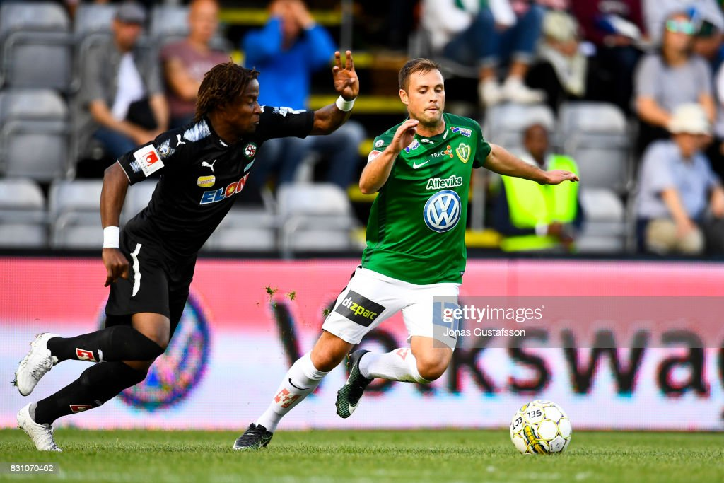 Tom Siwe of Jonkopings Sodra competes for the ball during the Allsvenskan match between Jonkopings Sodra IF and Orebro SK at Stadsparksvallen on August 13, 2017 in Jonkoping, Sweden.