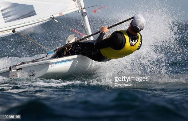 Tom Slingsby of Australia in action during a Laser Class race during day five of the Weymouth and Portland International Regatta at the Weymouth and...