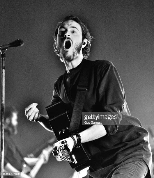 Tom Smith of Editors peforms on stage at Brixton Academy on October 24 2018 in London England Converted to black and white