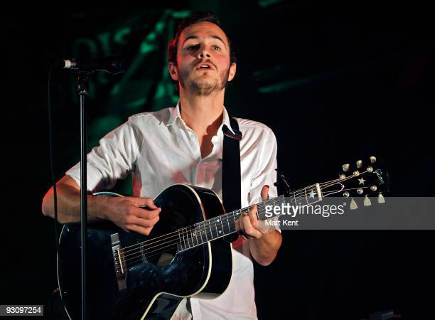Tom Smith of Editors performs on stage as part of Mencap's Little Voice Sessions at the Union Chapel on November 16 2009 in London England