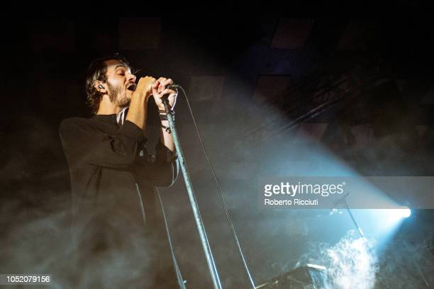 Tom Smith of Editors performs on stage at Barrowlands Ballroom on October 13 2018 in Glasgow Scotland