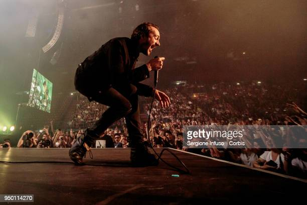 Tom Smith of Editors performs on stage at Mediolanum Forum of Assago on April 22 2018 in Milan Italy