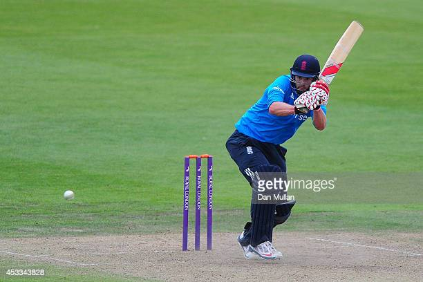 Tom Smith of England Lions bats during the Triangular Series match between England Lions and New Zealand A at The County Ground on August 8 2014 in...