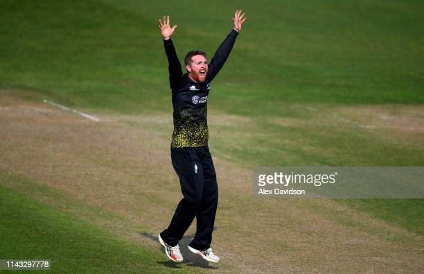 Tom Smith of Gloucestershire appeals successfully for the wicket of Liam Plunkett of Surrey during the Royal London One Day Cup match between...