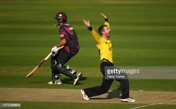 Tom Smith of Gloucestershire appeals unsuccessfully for the LBW of George Bartlett of Somerset during the Vitality Blast match between Somerset and...