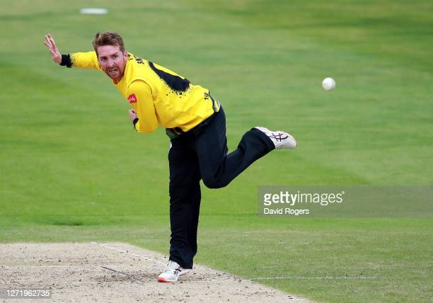 Tom Smith of Gloucestershire bowls during the T20 Vitality Blast 2020 match between the Northamptonshire Steelbacks and Gloucestershire at The County...