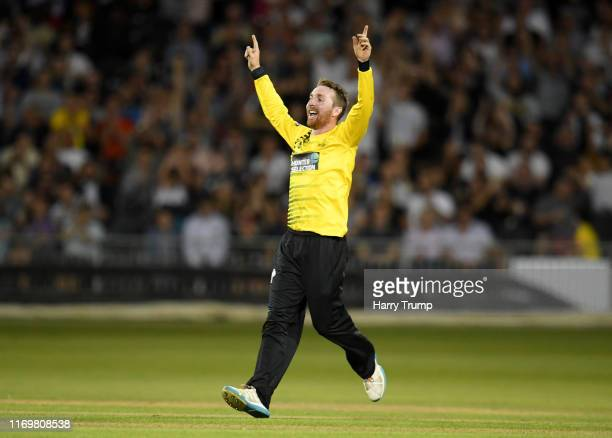 Tom Smith of Gloucestershire celebrates after taking the wicket of Tom Abell of Somerset during the Vitality Blast match between Gloucestershire and...