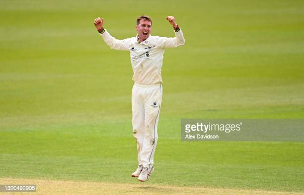 Tom Smith of Gloucestershire celebrates taking the wicket of Sean Abbott of Surrey during Day Two of the LV= Insurance County Championship match...