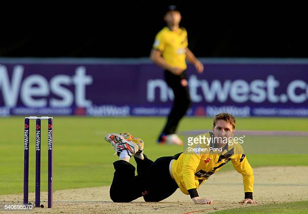 Tom Smith of Gloucestershire looks on during the NatWest T20 Blast match between Essex and Gloucestershire at the Ford County Ground on June 16 2016...