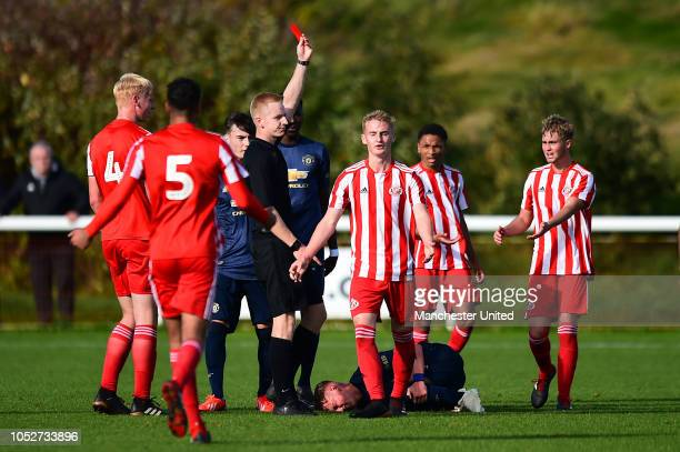 Tom Smith of Sunderland U18s is sent off during the U18 Premier League North match between Manchester United U18s and Sunderland U18s at the Academy...