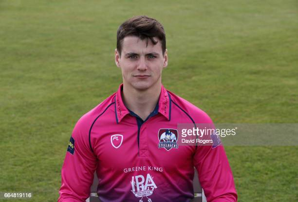 Tom Sole poses in the Royal London OneDay Cup kit during the Northamptonshire County Cricket photocall at The County Ground on April 5 2017 in...