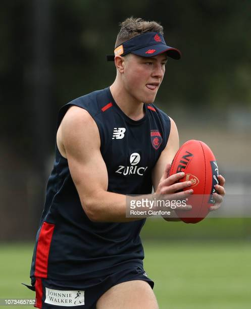 Tom Sparrow of the Demons controls the ball during a Melbourne Demons AFL training session at Gosch's Paddock on November 28 2018 in Melbourne...