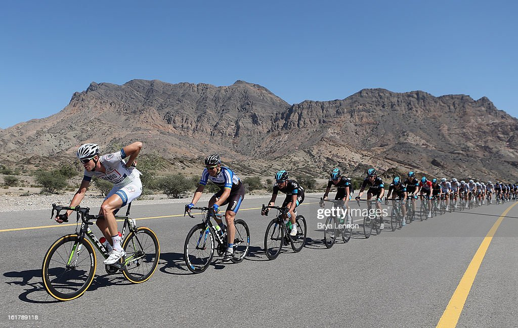 Tom Stamsnjider of the Netherlands rides in the peloton on stage six of the 2013 Tour of Oman from Hawit Nagam Park to the Matrah Corniche on February 16, 2013 in Matrah, Oman.
