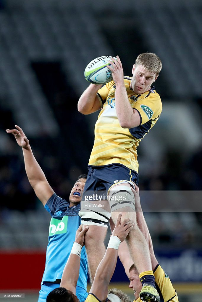 Tom Staniforth of the Brumbies takes the ball in the lineout during the round 16 Super Rugby match between the Blues and the Brumbies at Eden Park on July 8, 2016 in Auckland, New Zealand.