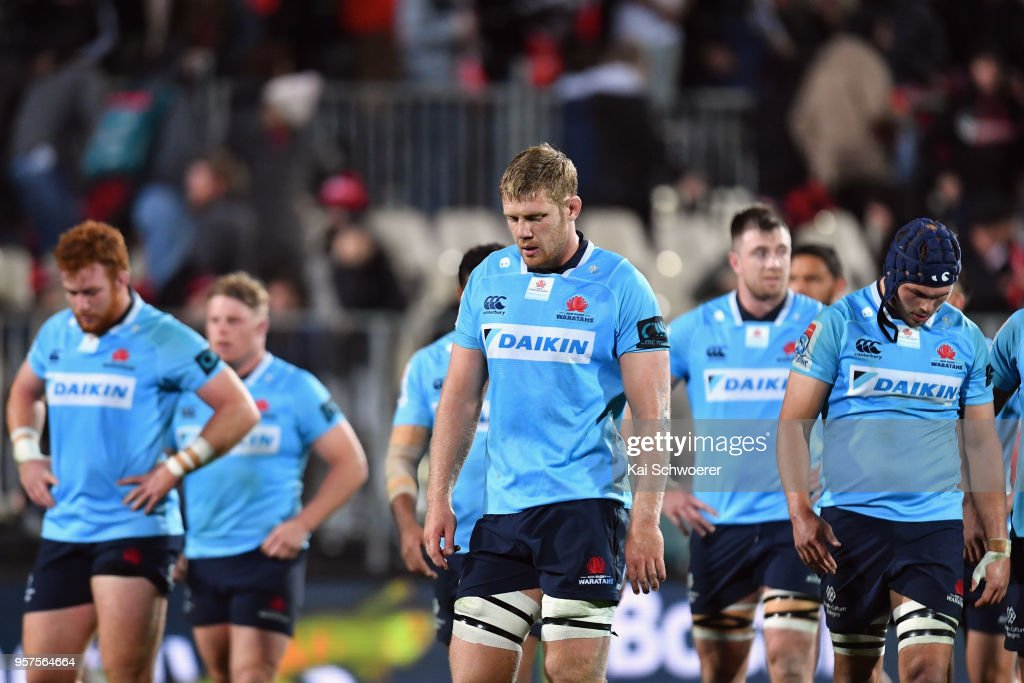 Tom Staniforth of the Waratahs (C) and his team mates react after the loss in the round 12 Super Rugby match between the Crusaders and the Waratahs at AMI Stadium on May 12, 2018 in Christchurch, New Zealand.