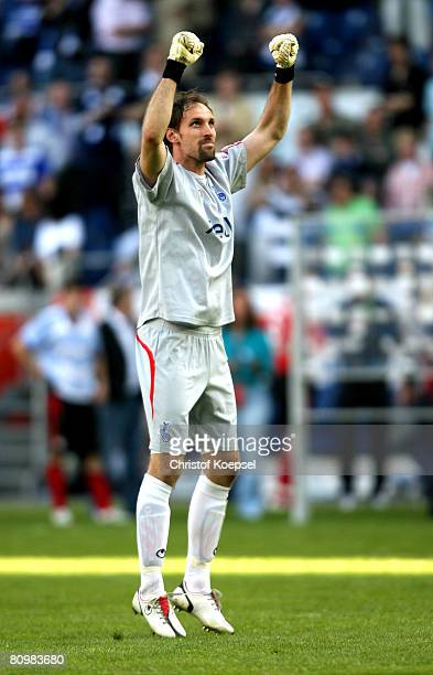 Tom Starke of Duisburg celebrates the 32 victory after the Bundesliga match between MSV Duisburg and Bayer Leverkusen at the MSV Arena on May 4 2008...