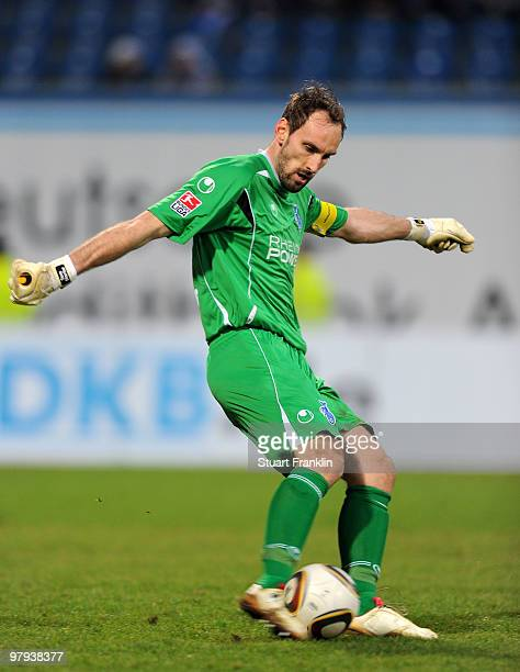 Tom Starke of Duisburg during the Second Bundesliga match between FC Hansa Rostock and MSV Duisburg at the DKB Arena on March 19 2010 in Rostock...