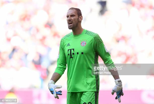 Tom Starke of FC Bayern Muenchen reacts during the Bundesliga match between Bayern Muenchen and SV Darmstadt 98 at Allianz Arena on May 6, 2017 in...